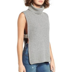 JOA Grey Sleeveless Turtleneck Sweater Open Sides